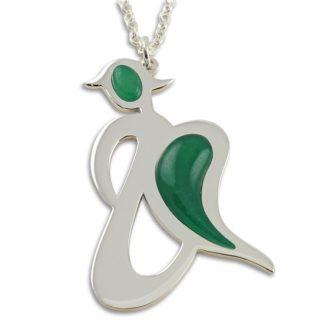 Confide Angel - Green Jade Angel Silver Pendant