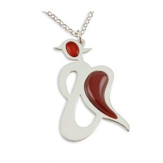 Angel of Joy - Carnelian Angel Silver Pendant