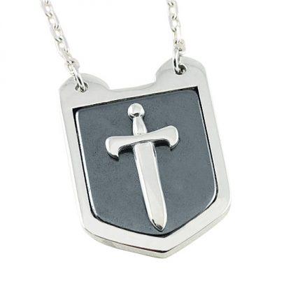 Sword Shield Silver Pendant with Hematite