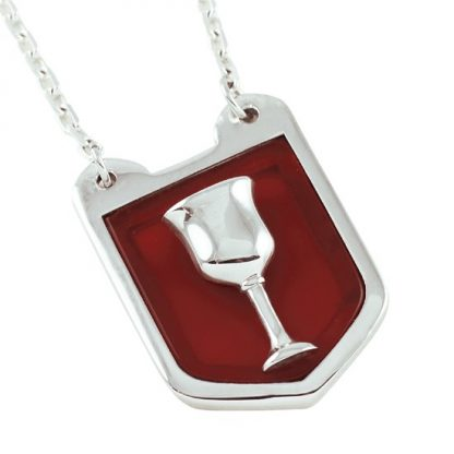 Grail Shield Silver Pendant with Red Agate