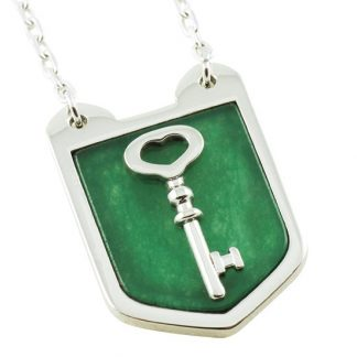 Keyholder Shield Pendant with Green Jade