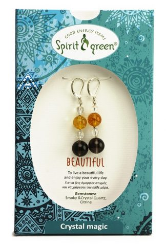 Beautiful Silver Earrings with Smoky Quartz, Crystal Quartz, Citrine