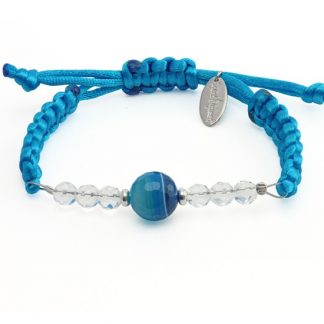 Blue Light Bracelet with Blue Agate and Crystal Quartz