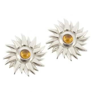 Sun Silver Earrings with citrine