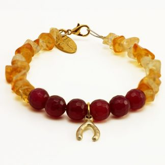 Lucky Bracelet with Citrine and Red Agate