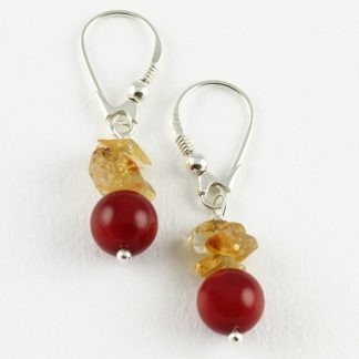 Good Fortune Silver Earrings with Citrine & Coral