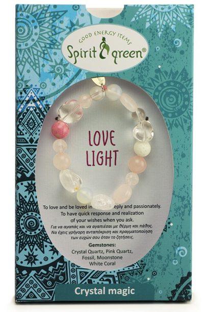 Lovelight Bracelet with Crystal Quartz, Pink Quartz, Fossil, Moonstone, White Coral