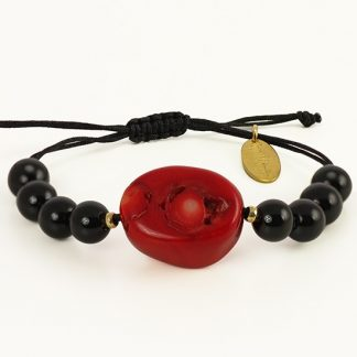My Guardian Bracelet with Red Coral and Black Onyx