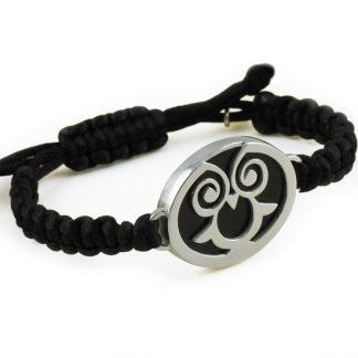 Wise Owl Silver Bracelet with Obsidian