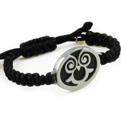 Wise Owl Silver Bracelet with Obsidian
