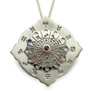 Astrology Wheel Silver Pendant