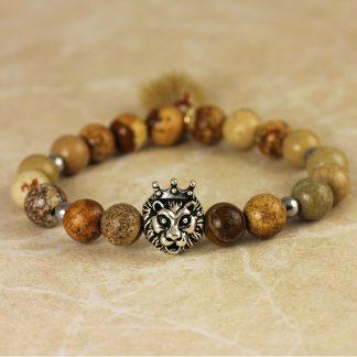 Lion bracelet, βραχιόλι με ίασπι