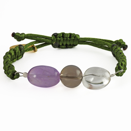The power of 3 - PROTECTION, BALANCE, PEACE OF MIND - Crystal Quartz, Smoky Quartz, Amethyst Bracelet