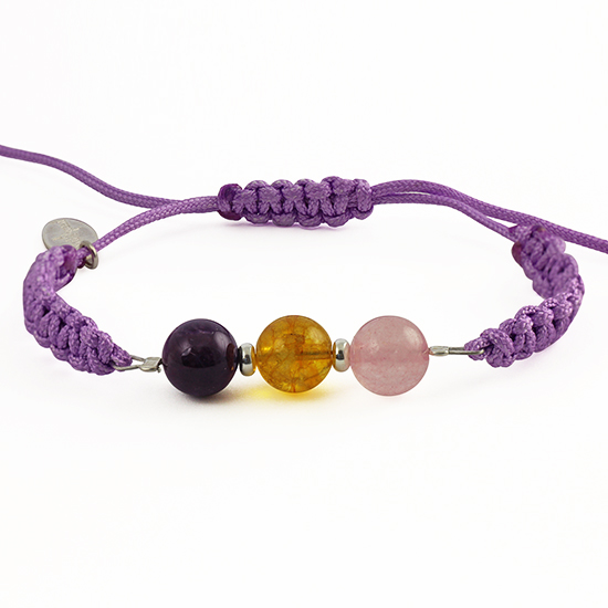 The power of 3 - LOVE, HAPPINESS, WELLNESS - Amethyst, Pink Quartz, Citrine Bracelet