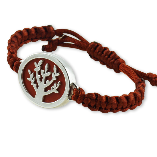 Tree of Life Silver Bracelet with Red Jasper